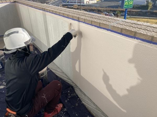 北区ビル バルコニー外壁上塗り 遮熱塗料サムネイル