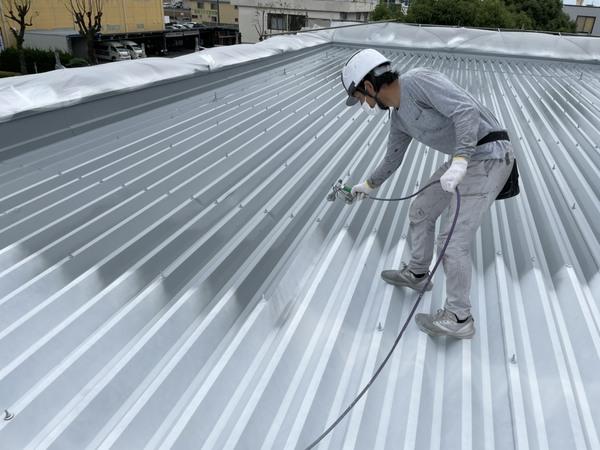 東区店舗 折半屋根 シリコン塗装サムネイル